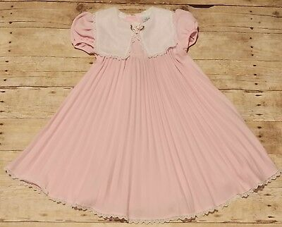 Vintage Youngland Dress Girls Size 5 Pink White Pleated Skirt Flower Lace