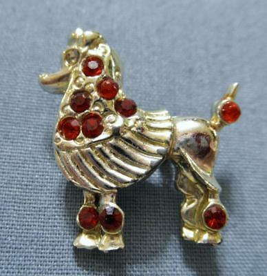 Poodle Lovers Silver Tone Poodle Pin Decorated w/ Red Rhinestones Pin Brooch