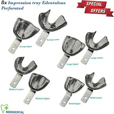 Set Of 8 Impression Trays Perforated Edentulous Rim-Lock Prosthetic Dentistry CE