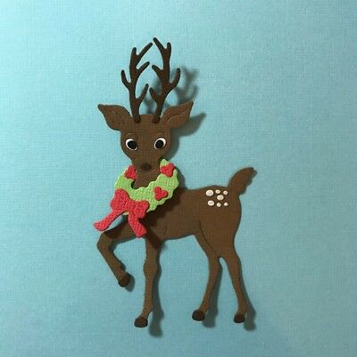 Reindeer With Wreath Die Cut Embellishments Paper Christmas Xmas