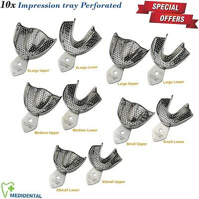 Dental Impression Tray Perforated full denture XLarge Medium,Small Upper & Lower