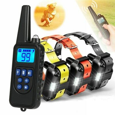 Waterproof Dog Shock Collar Remote Trainer IP67 Electric Pet Training for 1 2 3