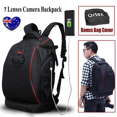 Camera Backpack Bag Case Waterproof Shockproof 7 Lenses For Canon EOS Nikon Sony