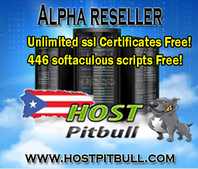 Alpha Reseller Hosting Unlimited Monthly +  Unlimited SSL Certificates!