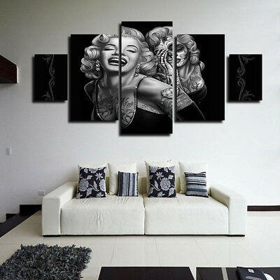 Modern 5 pcs Marilyn Monroe Home Canvas Art Picture Print Wall Decor Painting