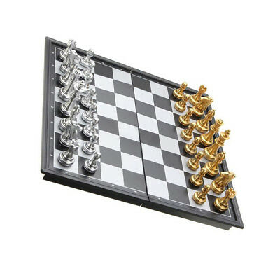 Foldable Chess Contemporary 32 Pieces International Toy Silver Gold Educational