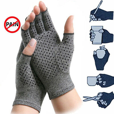 Mens Ladies THERMAL THINSULATE FINGERLESS GLOVES Knitted Cotton Gray UK NEW