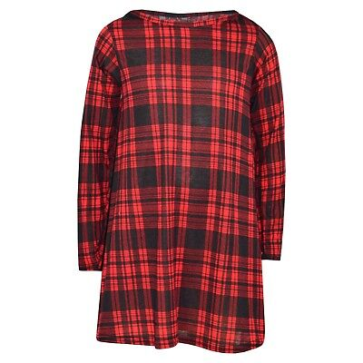 Kids Girls Red Tartan Print Swing Dress Trendy Fashion Top Skater Dresses 7-13Yr
