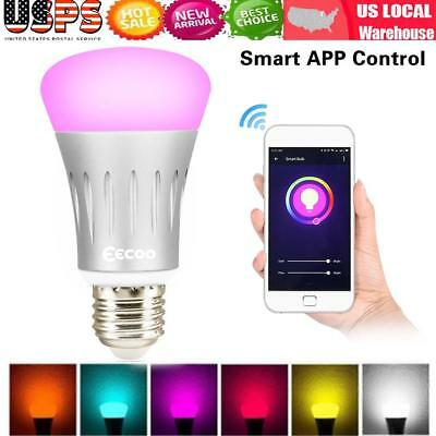 Wi-Fi Smart LED Bulb Adjustable Multicolor Dimmable Night Light Wireless Bulb US