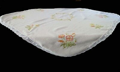 Vintage Hand Embroidered Poppy Table Cloth With Lace Border - Square