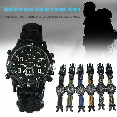 9 in 1 Survival Paracord Bracelet Watch Compass thermometer LED Whistle Light 1B