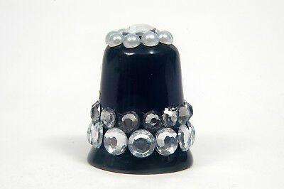 White Gemstones, Exclusive Hand Decorated Black China Thimble B/96