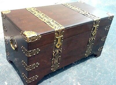 CHINESE 5ft WEDDING TRUNK  Antique Wood Chest w Ornate Brass Straps & Accents