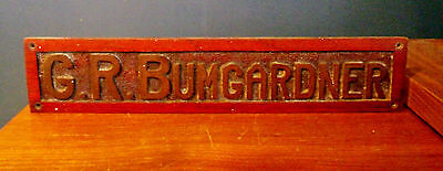 Bumgardner Vintage Rustic Carved Stained Wood Plaque 1970's