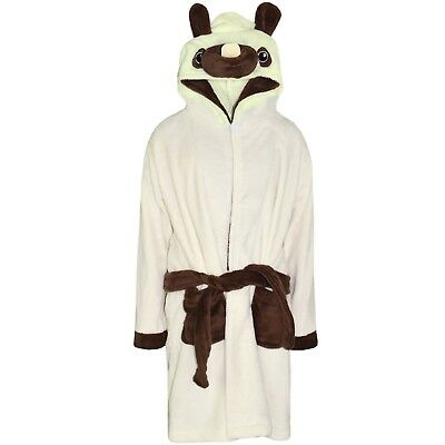 Kids Girls Boys Bathrobe Pug 3D Animal Dressing Gown Fleece Nightwear Loungewear