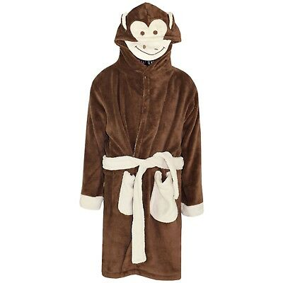 Kids Girls Boys Bathrobe Monkey 3D Animal Dressing Gown Fleece Night Lounge Wear