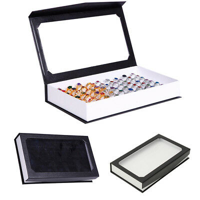 LX_ Velvet Jewelry Ring Display Organizer Box Tray 72 Holes Rings Storage Case