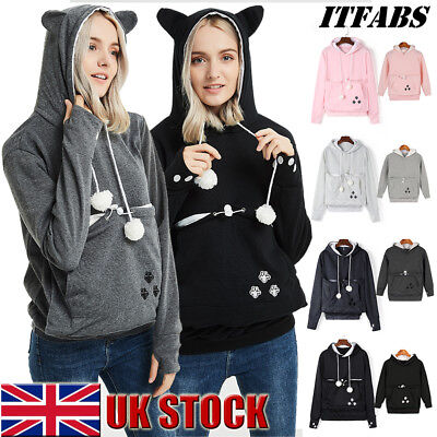 Family Clothes Women Girl Cat Ear Pets Holder Pouch Pocket Hoodie Top Sweatshirt