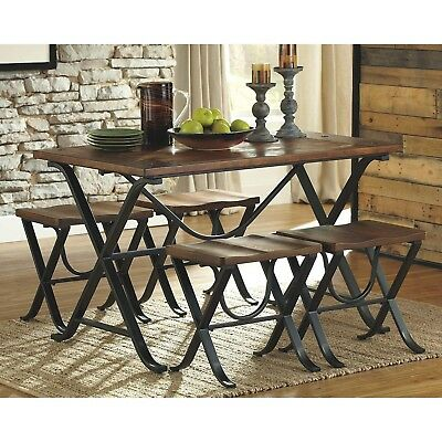 Farmhouse Dining Table Set Industrial Antique Stool Wood Metal Country Kitchen