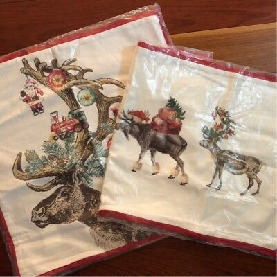 Pottery Barn Holiday HAMILTON PLAID Stag Pillow Cover 20x20 RED GREY IVORY NWT