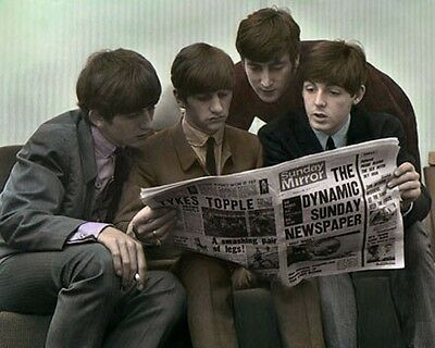 """THE BEATLES READING SUNDAY MIRROR 1963  8x10"""" HAND COLOR TINTED PHOTOGRAPH"""