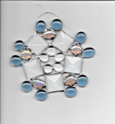 Stained Glass SNOWFLAKE or STAR Sun Catcher 5in x 5 inNEW BLUE BEVELS