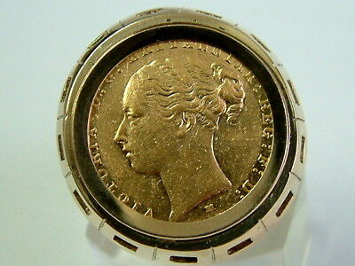 Gents 22Ct Gold 1887 Victorian Full Sovereign Coin In 9Ct Heavy Gold Ring Mount