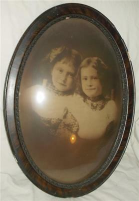 Lovely Vintage Antique Convex Glass Picture Frame Portrait 2 Young Girls