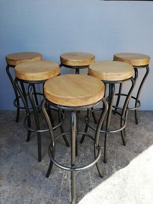 Lot de 6 tabourets bar bistrot atelier industriel