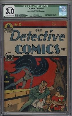 Batman Detective Comics #45 CGC 3.0 GD/VG Qualified 3rd Appearance of Joker 1940