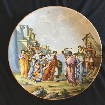 18 Century Italian Hand Painted Ceramic Charger,very Large Beautiful