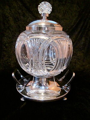Antique Silver Plate & Cut Glass Huge Punch Bowl From Austria Magnificent Marked