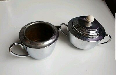 "1950'S VINTAGE ""HEATMASTER"" Sugar Pot with lid and Milk Jug"