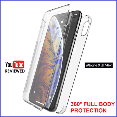 iPhone XS MAX 360° FULL FRONT BACK PROTECTION CLEAR THIN Gel Silicone Case Cover