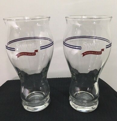 2 Sam Adams Beer Drinking Pint Glasses Tall Sensory Boston Lager Glasses