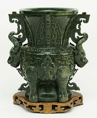 A VERY LARGE MUSEUM QUALITY  HEAVILY CARVED Chinese Antique Spinach Jade Urn.