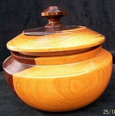 Turned Wooden Bowl .with Lid. Vintage