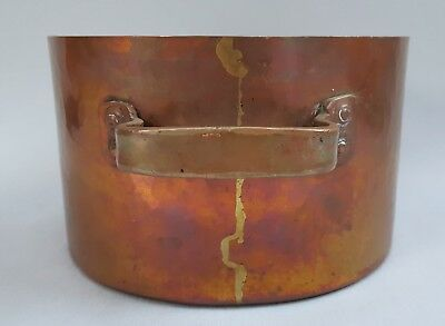 Antique Vintage Hammered Copper Stock Sauce Pot Pan Cookware Dovetail French?
