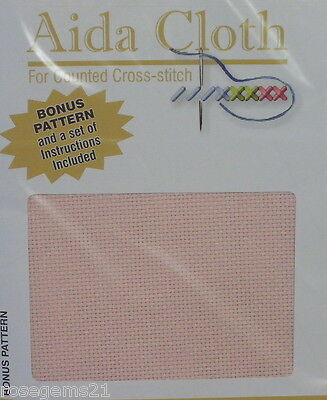 14 COUNT AIDA - Baby Pink 36 x 45 cms (New) Includes FREE Chart