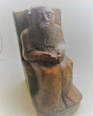 Scarce Egyptian Hand Carved Wooden Funerary Statuette Seated Male Figure