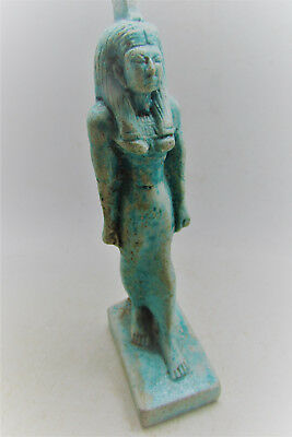 Beautiful Ancient Egyptian Glazed Faience Statuette Of Cleopatra