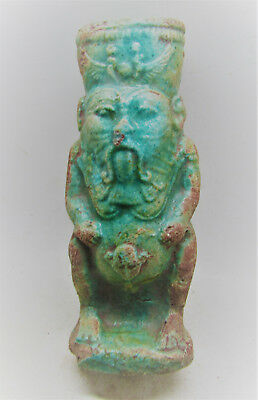 Beautiful Undated Egyptian Glazed Faience Statuette Of Bes