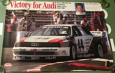 VICTORY FOR AUDI Poster 33 x 24 Hurley Haywood SCCA Trans Am Grand Prix 1988
