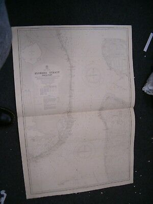 Vintage Admiralty Chart 659 FLORIDA STRAIT - NORTH PART 1916 edition