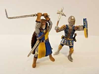 Schleich Lot of 2 Fantasy Medieval Knights Gold/Blue/Silver Shields Weapons