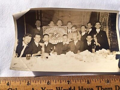 Vintage Pre Pro 1900's b/w Photo Young Men Toasting w/ Anheuser Busch Beer Sign