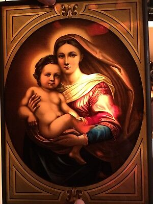 Antique Gothic Victorian Church Stained Glass Window Panel Madonna & Child 12x17