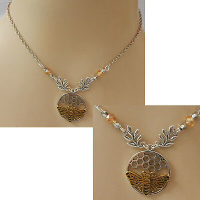 Bee Necklace Pendant Charm Silver Honeycomb Gold Chain Jewelry Women NEW Queen