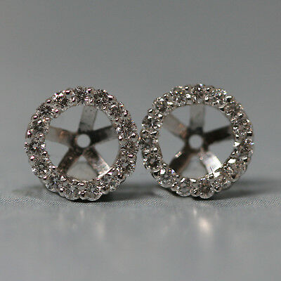14k White Gold Halo Stud Jacket Earrings With .30 Cts Round Diamonds