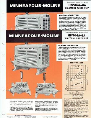 Minneapolis Moline Industrial Power Unit HD504A-6A Sales Specification Bulletins